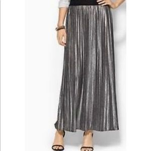 Piperlime Metallic Silver Pleated Maxi Skirt M